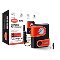Maximum Pressure- 100 PSI Super long 3m (10ft) power cord of the compressor designed to reach all the 4 wheels and further, Comes with 2 additional Adaptors & Woscher's Storage Bag Inflate a Standard mid-sized bike tyre from 0-35 psi in 2 minutes & C...