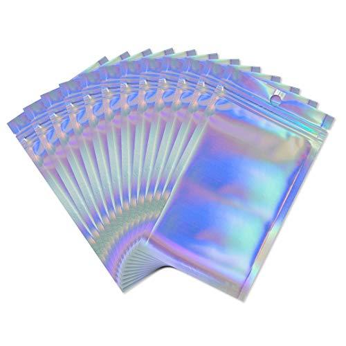Rimiko 50 Piezas de Bolsa de Resellable de Aluminio Mylar Zip lock Bags, Bolsa con Cierre a Prueba de Olor Transparente Color Holográfico para Almacenamiento de Alimentos (12 X20 CM)