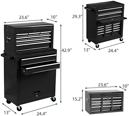Product Image 7: 8-Drawer Tool Chest Tool Box,High Capacity Rolling Tool Chest Tool Storage Cabinet with 4 Wheels, 2 in 1 Large <a href=