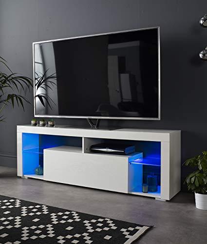 MMT BASS1600 - Mobile porta TV per TV da 40 42 50 55 65 pollici 4k con luci LED, larghezza 160 cm,...
