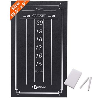 """BETTERLINE Large Professional Scoreboard Chalkboard for Cricket and 01 Darts Games - 15.5"""" x 9"""" Inch (39.3 x 22.9 cm) - Black Board - Eraser and 2 Chalk Pieces Included"""