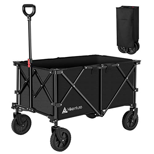 Hikenture Folding Wagon Cart, Portable Large Capacity Beach Wagon, Heavy Duty Utility Collapsible Wagon with All-Terrain Wheels, Outdoor Garden Cart Foldable Wagon for Sports, Shopping, Camping(Black)