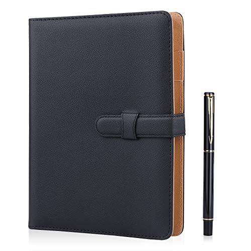 Cuaderno de piel Minlna tamaño A5, cuaderno/libreta de hojas sueltas recambiables, 200 páginas gruesas, forro clásico con bolsillo y soporte para bolígrafo, ideal como regalo