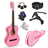 30' Wood Classical Guitar with Case and Accessories for Kids/Girls/Boys/Beginners (Pink)