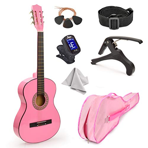 """30"""" Wood Classical Guitar with Case and Accessories for Kids/Girls/Boys/Beginners (Pink)"""