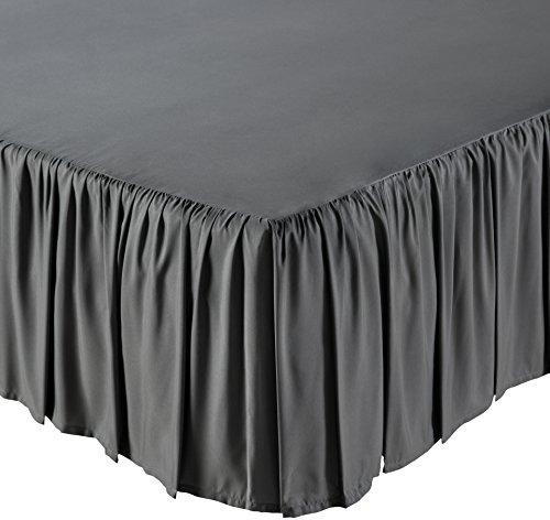 AmazonBasics Ruffled Bed Skirt, 16 Inch Skirt Length, King, Dark Grey