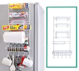SEVIA Multi Purpose Refrigerator Fridge Hanging Rack Shelf Side Storage - Multi-Layer Wall Holder - Jar Bottle Holder - Cutlery Spice Rack - Wall Storage Container for Bathroom Kitchen - White