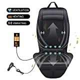 SEG Direct 3-in-1 Car Smart Seat Cushion, Ventilation for Summer, Heating for Winter, Vibrating for Driving, with 12V Output Voltage Adapter with 5 Adjustable Levels of Ventilation and Heating