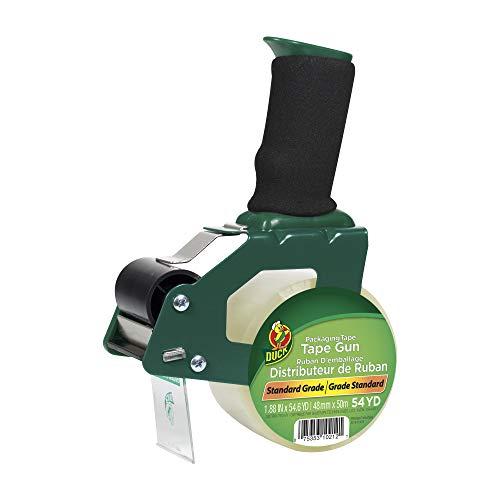 Duck Brand Standard Tape Gun with Foam Handle, Includes 1 Roll of 54 Yard Standard Tape (669332), Green/Black