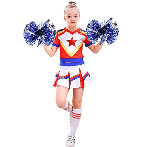 Tacobear Cheerleader Costume Bambina Vestito Cheerleader con Pompon e Calzini Carnevale Halloween Cheerleader Costumi Rosso Bianco Blu per Bambini Ragazza 3 4 5 6 7 8 9 10 11 Anni (M, 6-8 Anni)