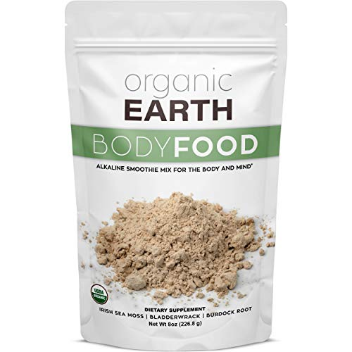 Organic Earth Body Cell Food (8 Ounces) Irish Sea Moss Bladderwrack Burdock Root Powder Wildcrafted Alkaline Supplement 70 Servings