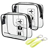 2pcs/pack Lermende Clear Toiletry Bag TSA Approved Travel Carry On Airport Airline Compliant Bag Quart Sized 3-1-1 Kit Luggage Pouch (Black)