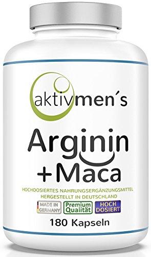 aktivmen´s Arginin + Maca hochdosiert - für stark aktive Männer, von Experten* geprüft - 100{3335baa3053bc415863c7ff0ac610be32e0b1454f0e24955e046d96bc526ef4b} vegan, 180 Kapseln, L-Arginin Base 3600 + Maca 6000 (Maca Wurzel Extrakt 20:1) 1 Dose (1 x 140 g)