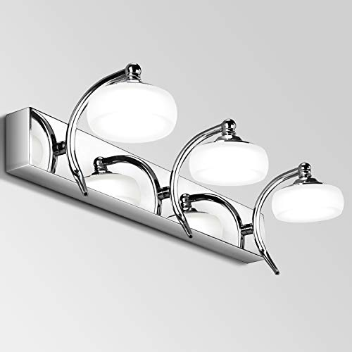 Qucover Luce Specchio LED Bagno 20W, Lampada Parete da Specchio 45 cm, Applique per Bagno per...