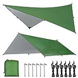 OTraki Bâche Anti-Pluie 3m x 4m Abri de Randonnée Bâche de Hamac Tarp Rain Fly Toile de Tente...