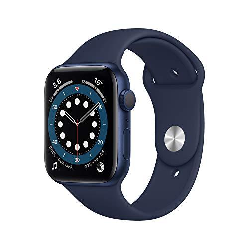 AppleWatch Series6 (GPS, 44 mm) Boîtier en Aluminium Bleu, BraceletSport Marine Intense