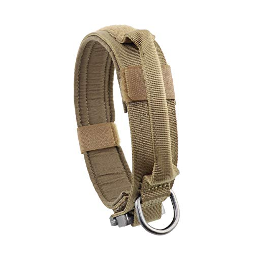"""Yunlep Adjustable Tactical Dog Collar Heavy Duty Metal Buckle with Control Handle for Dog Training,1.5"""" Width (L, Coyote Brown)"""
