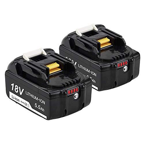 [2 Stück] BL1860B Lithium-ion Batterie für Makita Akku 18V 5.5Ah BL1860B BL1830B BL1850B BL1860B 196399-0 196673-6 LXT-400 Akku-Elektrowerkzeug mit LED-Ladeanzeige FUNMALL