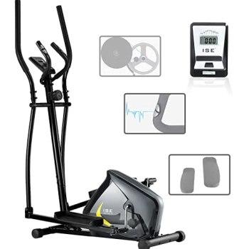 ISE Vélo Elliptique Vélo d'Appartement Magnétique 8 Niveaux de résistance, Crosstrainer pour Maison avec Capteur de Pouls, Poids d'inertie de 6 KG, écran LCD, Max.110kg, SY-9802