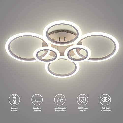 LED-Deckenleuchte, SOLVE 72W LED-Deckenleuchte 6400LM Weiß 6 Ringe Leuchte für Wohnzimmer, Schlafzimmer, Esszimmer, dimmbare Fernbedienung, stufenloses Dimmen