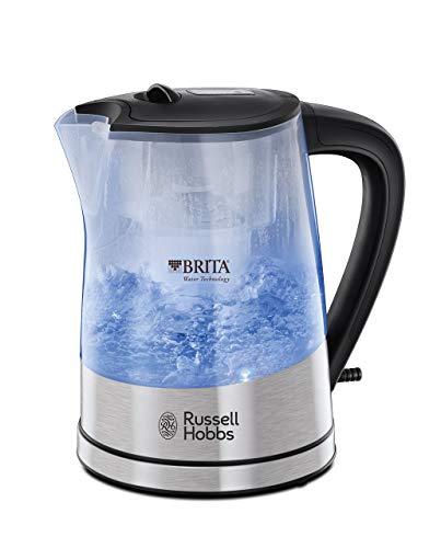 Russell Hobbs Purity Hervidor de Agua Eléctrico - 2200W, 1 litro, Filtro Brita, Plástico, Acero Inoxidable, Negro - 22850-70