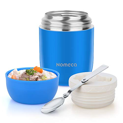 Insulated Lunch Container Wide Mouth Hot Food Jar Nomeca 16 Oz Stainless Steel Vacuum Food Soup Flask With Spoon Leak Proof Keep Food Hot Cold Lunch Bento Box for Kids Adult School Office OutdoorBlue