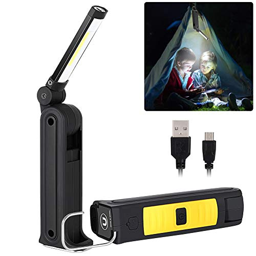 LED Work Light Rechargeable COB Inspection Light, Haofy Portable Handheld USB Flashlight Torch 300°Rotatable Magnetic Work Lamp with Magnet & Hook & 5 Modes Worklight for Auto Car Repair Home