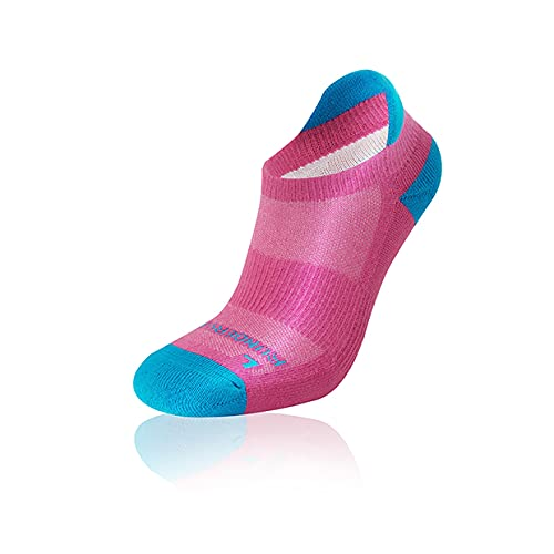 Runderwear Anti-Blister Running Socks - Low - Double-Layered, Performance Running Socks (Pink/Cyan, Small (UK 4-6))