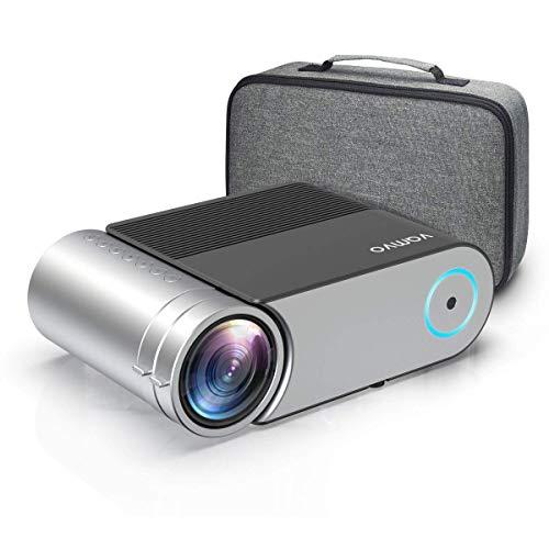 Beamer, Vamvo Mini Beamer Full HD, Projektor 1280*720P mit Tragetasche unterstützt 1080P Multimedia LED 50000 Stunden Heimkino und Fußball Spiel Spaß Kompatibel mit HDMI/VGA/USB/AV