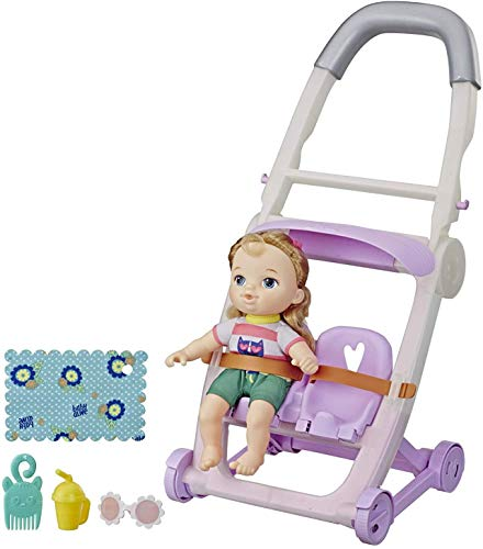 Baby Alive Littles, Push N Kick Stroller, Little Ana, Blonde Hair Doll, Legs Kick, 6 Accessories, Toy for Kids Ages 3 Years Old & Up