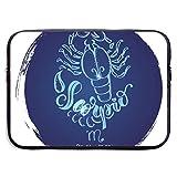Estuche Redondo con diseño de Signo del Zodiaco Escorpio para computadora portátil, maletín para computadora portátil, Estuche de Viaje Suave para Tableta, 13 Pulgadas