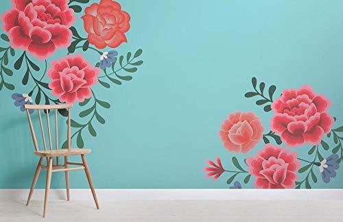 Papel pintado floral azul de Frida Kahlo Mural Papel pintado floral Decoración del hogar