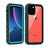 Redpepper iPhone 11 PRO Case,Waterproof IP68 Full Body with Built-in Screen Protector Rugged Bumper Clear Back Cover Case for Apple iPhone 11 5.8 inch (Teal/Clear)