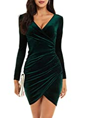 Features: wrap v neck, lightweight stretch velvet, midi knee length Occasion: great for daily wear, formal occassion, party, club, night out, evening, wedding Washing Tips: hand wash or gentle machine wash with cold water Simple yet flaterring dress,...