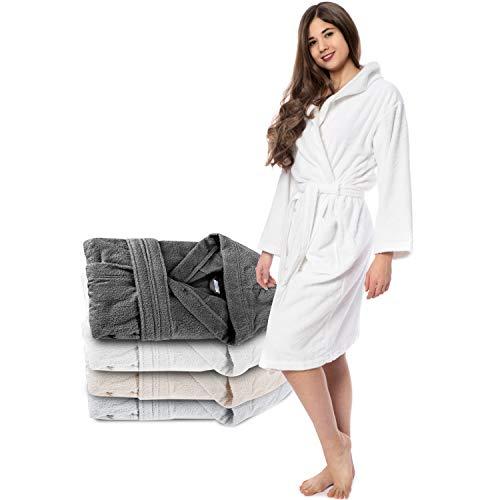 Twinzen Bademantel Damen - S - Weiß - 100{89c79a536f720ddb50dbce38c25f002bbbafdf8e68ae06780c55b3415c0c35ad} Baumwolle (350g/m²) Oeko-TEX® Zertifiziert - Bademantel mit Kapuze, 2 Taschen, Gürtel