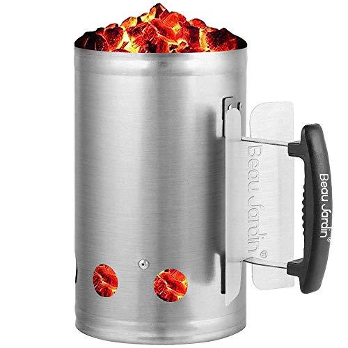 Anzündkamin BBQ Grillkohleanzünder 18x28cm Grillkamin Anzünder Griff mit Hitzeschutzblech