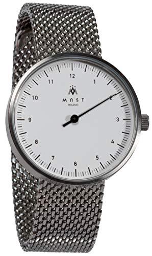 MAST MILANO Einzeigeruhr für Herren Ultra dünne (Weiß/Silber milanaise Armband)