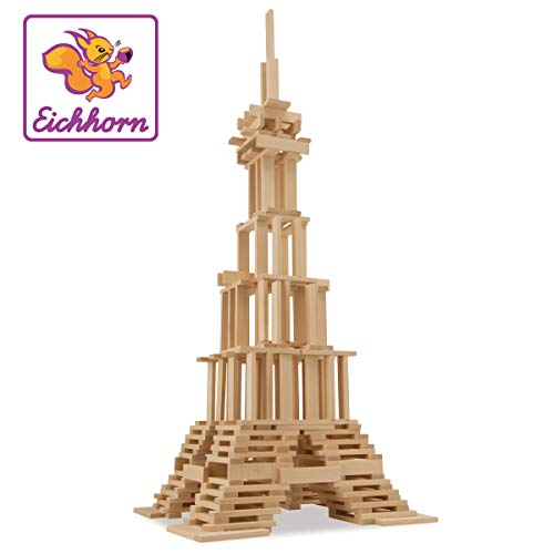 Eichhorn 100001602 - Costruzioni in legno, 200 pezzi, Modelli/Colori Assortiti, 1 Pezzo