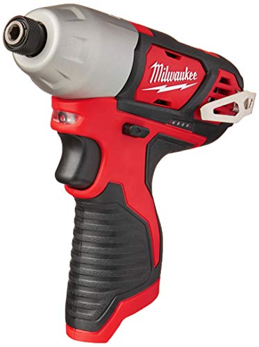 MILWAUKEE'S 2462-20 M12 1/4 Inch Hex Shank 12 Volt Lithium Ion Cordless 2,500 RPM 1,000 Inch Pounds Impact Driver w/ LED Light and Fuel Gauge (Battery Not Included, Power Tool Only)