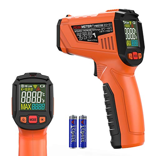 Peakmeter by COEEU, Thermomètre Infrarouge Laser Thermometre Sans Contact -50°C~550°C (-58°F~1022°F) Emissivité Réglable Thermomètre pour Cuisine/Barbecue/Congélateur/Industrie (Pas pour l'homme)