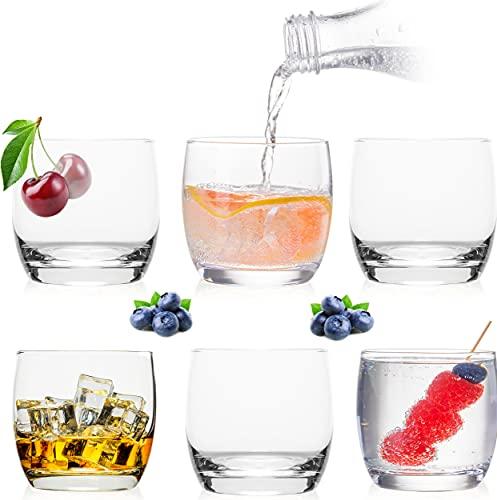Eleganti bicchieri in vetro da 260 ml, set da 6 pezzi, bicchieri per acqua, succo, whisky