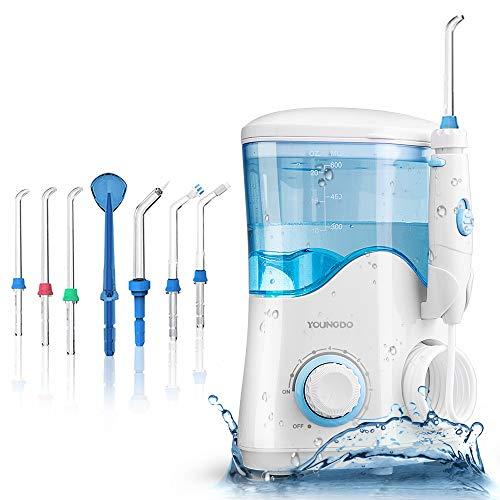 YOUNGDO Hydropulseur Jet Dentaire 600ML,Irrigateur Oral Professionnel 10 Niveaux Pressions D'eau,Detrarteur Nettoyage Dentaire Familial pour Soins Hygiène de Dents