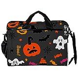 Maletín de lona para portátil de 14,5 pulgadas, para Halloween, postres y fantasmas bonitos patrones de bandolera, con correas desmontables