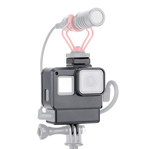 LICHIFIT V2 Vlog - Custodia protettiva con montaggio a slitta fredda per GoPro Hero 7/6/5 Action Camera Microphone Adapter Vlogging Cage Frame Accessory