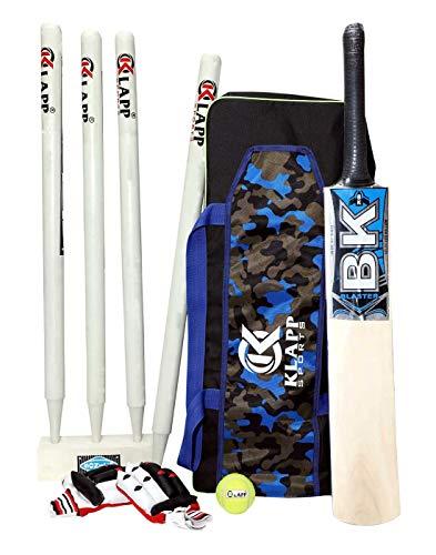 Klapp Practice Cricket Kit with 4 Wooden Wicket Set;Cricket Set (6, Popular Willow)