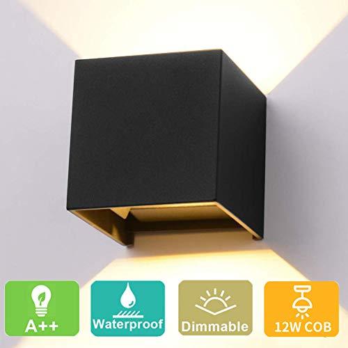 LED Wandleuchte 12W Wandlampe Einstellbarer Abstrahlwinkel Warmes Licht Schwarz Shell IP65 2800-3000K für Innen, Außen