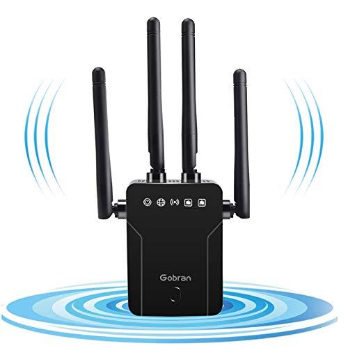 Répéteur WiFi Amplificateur WiFi 1200Mbps Double Bande 5GHz 2.4GHz Couvre Jusqu'à 200㎡, WiFi Extender Booster Point d'Accès Port Ethernet/LAN/WPS, Mode AP/Répéteur/Routeur/Client, pour Tous Routeurs…
