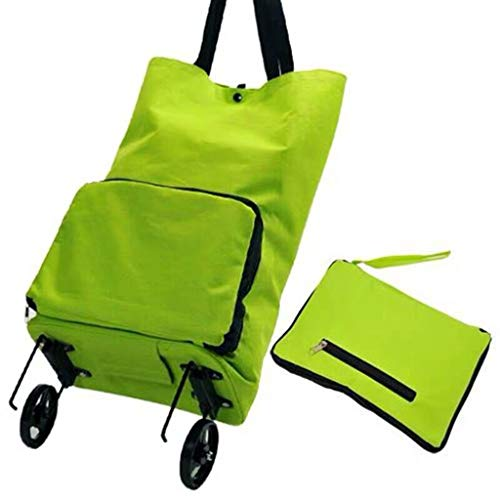 Faltbare Einkaufstasche, Wiederverwendbare Einkaufstasche Damen-Trolley Faltbare Einkauf Mit Rädern langlebig und leicht zu Shop Trolley Trolley (Color : Green)