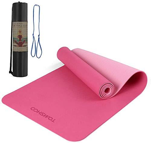 TOMSHOO Tappetino da Yoga TPE Antiscivolo Tappetino da Allenamento Portatile Pieghevole Fitness Pilates Tappeto da...