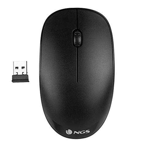 NGS FOG BLACK - Ratón Óptico Inalámbrico 2.4GHz, Ratón para...
